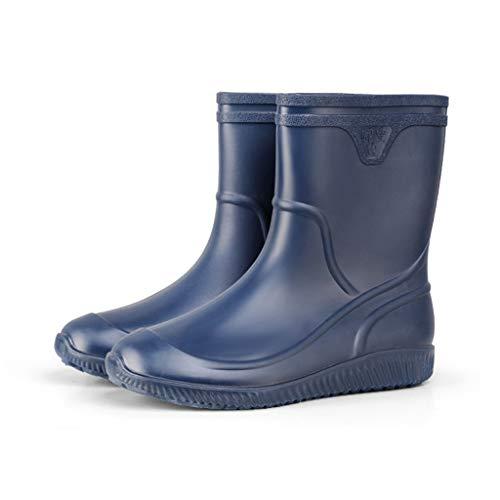 YQQMC Botas de lluvia de tubo medio para hombre antideslizantes impermeables zapatos de goma resistentes al desgaste botas de lluvia de trabajo en el jardín (color: azul oscuro, tamaño: 40)