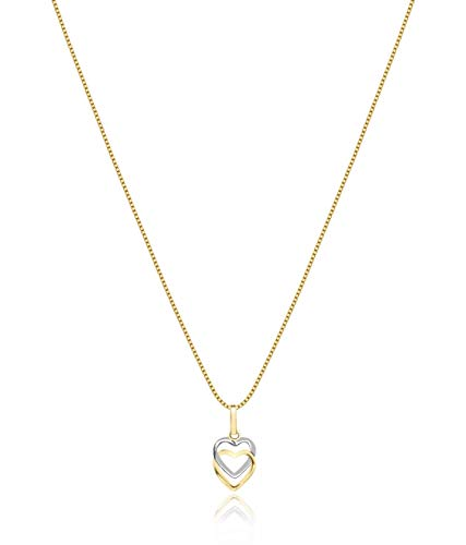 Cordão Feminino Veneziana Ouro 18k 50cm + Pingente Corações