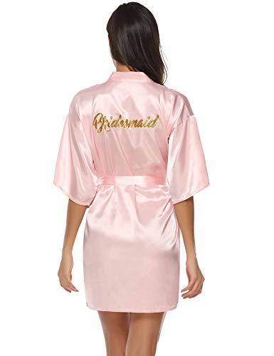 Aibrou Damen Kimono Morgenmantel Kurz Satin Robe Bademantel Nachtwäsche Sleepwear V Ausschnitt mit Gürtel für Party Hochzeit Brautjungfern Rosa M