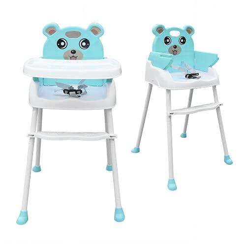 4-in-1 Kinderhochstuhl Hochstuhl baby kinderstuhl Klappbar Rutschfeste Tragbare Babystuhl mit Sitzgurt und Tablett (Grün)