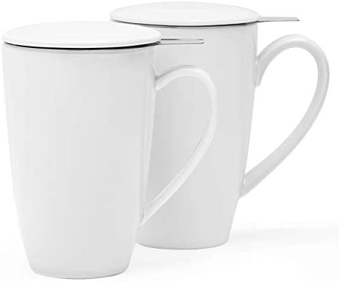 amHomel 2 pack Tea Cup with Infuser and Lid 15 oz Tea Strainer Mug for Loose Tea white product image