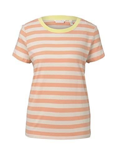 TOM TAILOR Denim Rundhals T-Shirt, 23053-striscia Bianca di papaia, L Donna