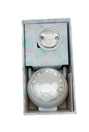 DOCOLASTRA Portachupetes y pinza de chupete,Personalizado en color blanco, con adorno de Plata bilaminada de Osito