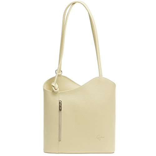 Caspar TL720 2in1 Leder Rucksack Handtasche, Farbe:beige, Größe:One Size