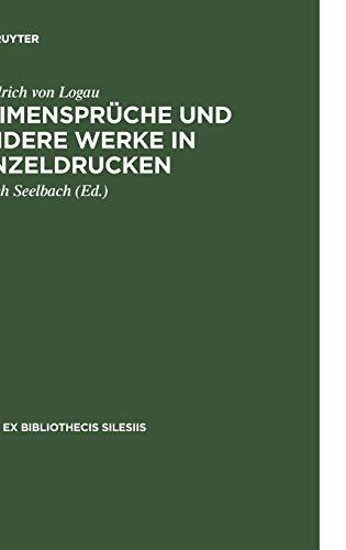 Reimensprüche und andere Werke in Einzeldrucken (Rara ex Bibliothecis Silesiis, 2, Band 2)