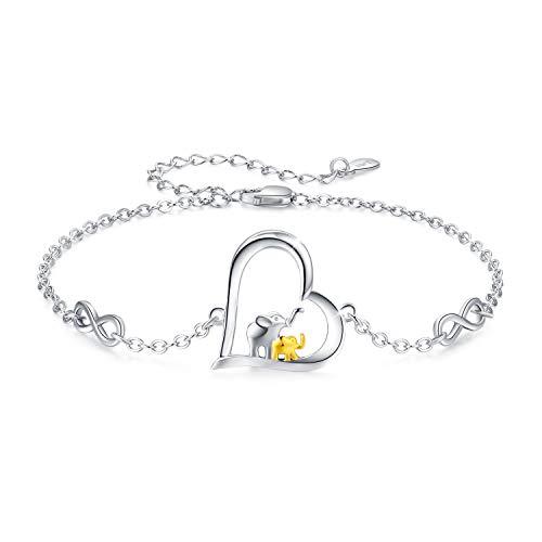 Frauen Mädchen Bettelarmband 925 Sterling Silber Elefant Bettelarmband Glücksarmband für Frauen Elefant Liebhaber Armband, Doppelketten Erweiterung