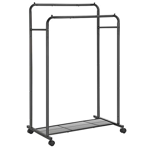 SONGMICS Double-Rail Garment Rack, Metal Clothes Rack with Wheels, Mesh Shelf, Each Rail Holds up to 66 lb, for Clothes, Bags, Shoes, Storage Boxes, Black UHSR26BK
