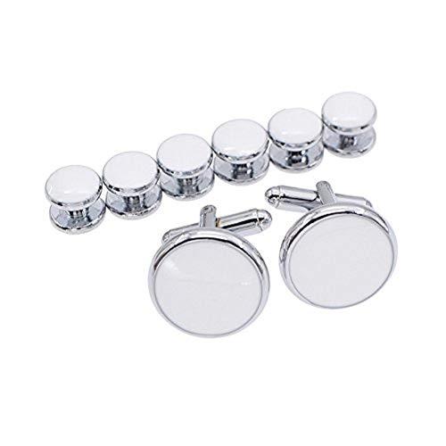 Ducomi® Manschettenknöpfe Set und 6 Hemdknöpfe für Männer - Koordiniertes und Elegantes Accessoire für Kleid und Smoking ideal für Geschäftstreffen und besondere Anlässe (Silver/White)