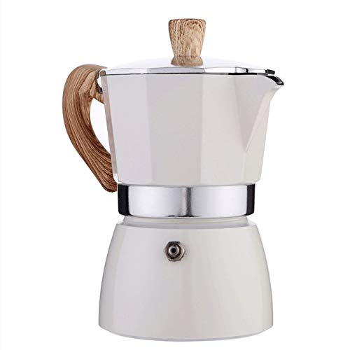 YGR Cafetera Octagonal De Aluminio, Cafetera Mocha 300ml (Color : White)
