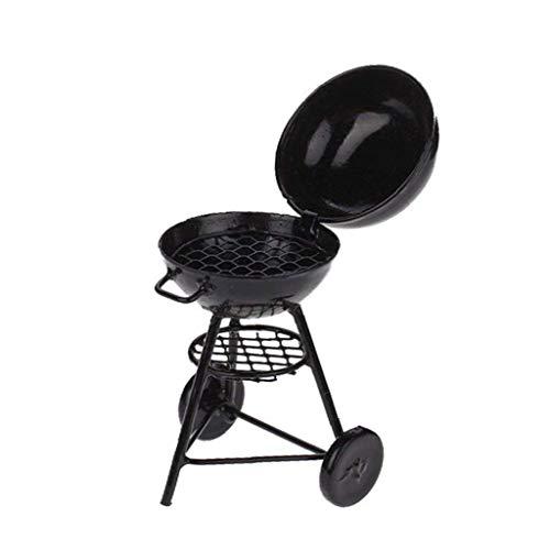 JBNS Uno Y Doce De Muñecas En Miniatura De Cocina De Picnic Barbacoa Barbacoa Cook, Horno De Asar Metal - Negro