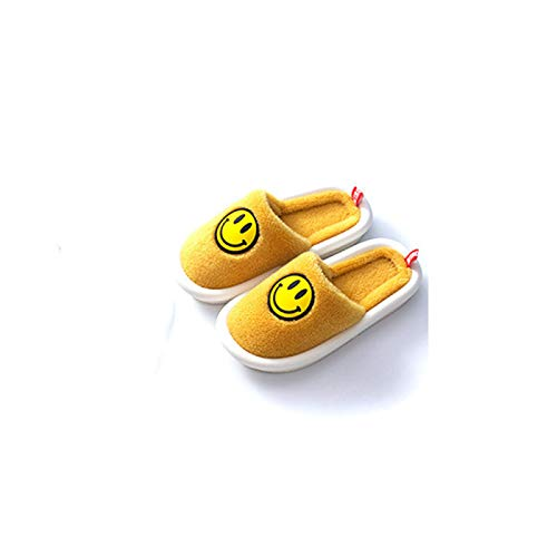 YYLP Men's and Women's Home Thick-Soled Non-Slip Cotton Slippers for Fall/Winter Indoor Plush Smiley Slippers