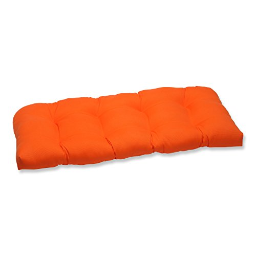 Pillow Perfect 496733 Outdoor/Indoor Sundeck Tufted Loveseat Cushion, 44' x 19', Orange