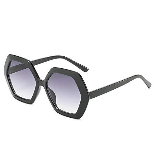 QINGZHOU Sonnenbrillen,Damen Sonnenbrille Retro Polygonale Brille Großen Rahmen Strahlenschutzbrille, Leuchtend Schwarz Doppelt Grau
