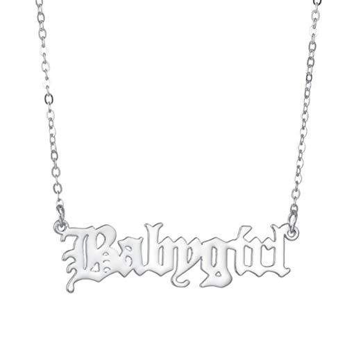 JIFNCR Baby Girl Letter Halskette Love Anhänger Halskette Choker Schlüsselbein Kette Kragen Hals Schmuck für Frauen und Mädchen Geschenkzubehör,Silber