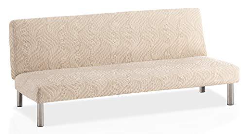 Funda de sofá Clic-clac elástica Aitana - Color Marfil - Tamaño estandar (de 170 a 205)