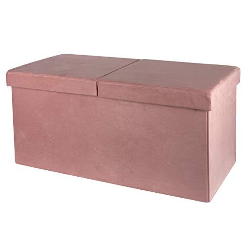 Baroni Home Cassapanca Pieghevole, Contenitore Portaoggetti, Pouf Poggiapiedi Velluto Rosa Cipria 76x38x38 cm