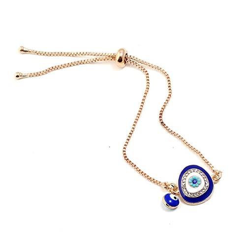 XIGAWAY Pulseras de cristal azul de la suerte turca del ojo del mal hecho a mano de las cadenas de oro