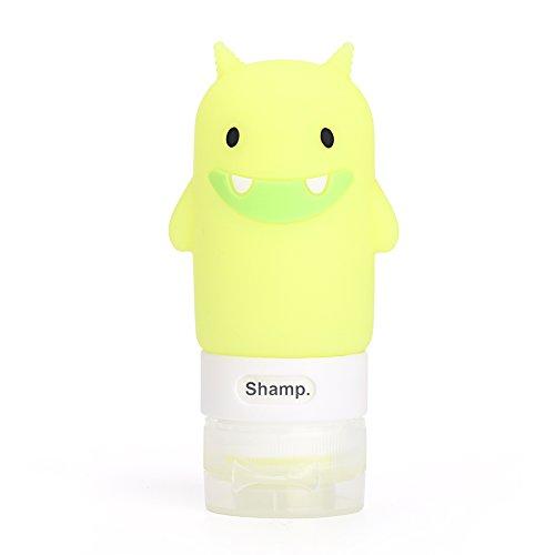 Botella multiusos de dibujos animados para el hogar, botella de modelado para viaje, portátil, de silicona, pequeña botella vacía, Green Little Monster, 60 ml