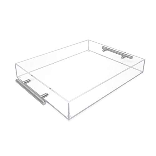 Isaac Jacobs Clear Acrylic Serving Tray 11x14 withSilver MetalHandles Spill-Proof Stackable Organizer Food Drinks Server IndoorsOutdoors Lucite Storage 11x14 Clear with Silver Handle