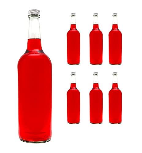 6 leere Glasflaschen 1000 ml BOR Saftflaschen mit Schraubverschluss 1 liter 100 cl Likörflaschen Schnapsflaschen von slkfactory