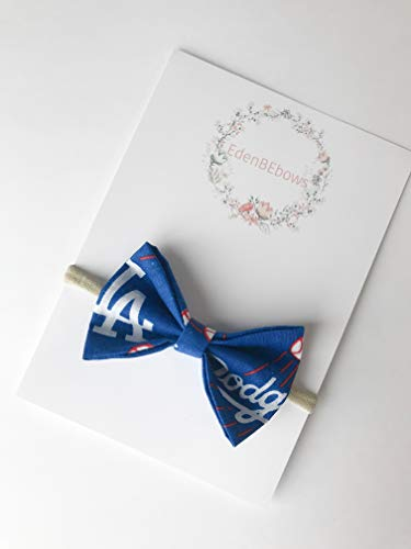 Los Angeles LosAngeles LA Dodger Dodgers newborn nylon headband bow - great for newborns baby girl and toddlers - MAde in USA