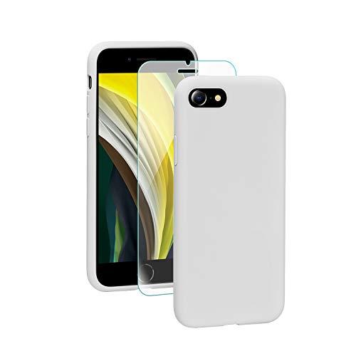SmartDevil Coque pour iPhone Se 2020, Silicone Liquide Housse avec Ecran Verre Trempé Gratuit Case Anti-Choc Anti-Rayures Protection Complète Cover Étui de iPhone Se 2020-Blanc