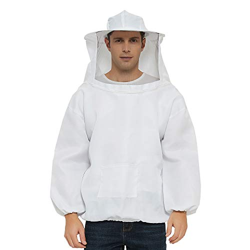 Professional Beekeeping Suit Jacket Pull Over with Fencing Veil Hood for Beginner & Commercial Beekeepers XL White