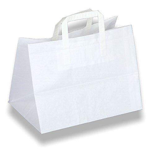 Wertpack 250x Konditortragetaschen, Kuchentragetaschen, Papiertüten, Weiß, 320+220x270 mm
