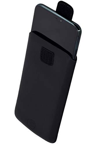 Favory Tasche Etui kompatibel mit Beafon M6 Hülle aus echtes Leder Schutzhülle (Lasche mit Rückzugfunktion) in schwarz