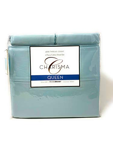 Charisma 6 Piece Sheet Set - 1 Flat Sheet, 1 Fitted Sheet, and 4 Pillowcases - Extra Soft Luxurious Sateen with Wrinkle Shield - 400 Thread Count and 100% Cotton (Light Blue, Queen)