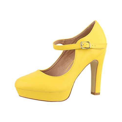 Elara Damen High Heels Pumps Riemchen Vintage Chunkyrayan ZZ22320 Yellow-37