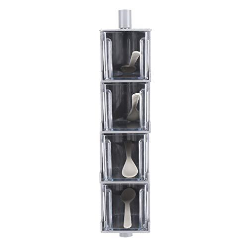 Food Box, Sticking Kitchen Pepper Sugar Jar Seasoning Box, Rotating Seasoning Box for Kitchen Storage Condiment Storage Jar Storage Supplies(gray)