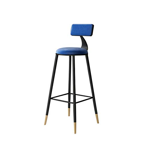 HUAJING Asiento de Taburete de Bar, Silla Alta Simple con Respaldo, Dos Alturas de 65 cm y 75 cm Disponibles, para Pub, Cocina, mostrador: Azul, Rosa, Gris (Color : Blue 75cm)