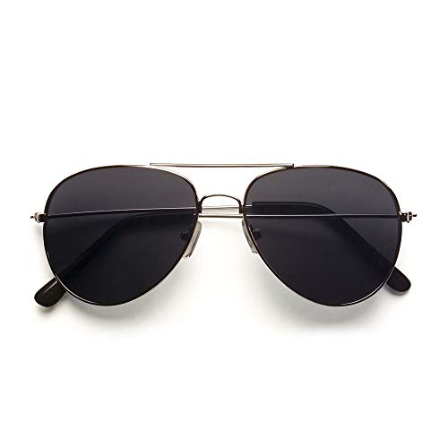 Widmann 6861C – Pilotenbrille, Schwarz, Kunststoffglas und Metall, für viele Charaktere, Piloten, Polizist, Gangster, Rapper, Motto Party, Karneval