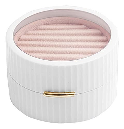 LIXSLT Caja de almacenamiento de doble capa para joyas, para mujeres, hombres, niñas, collares, pulseras, pendientes (color: blanco, tamaño: 10 x 9,2 x 5,7 cm)