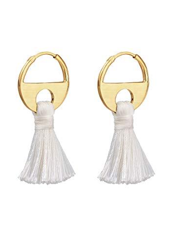 Elli Ohrringe Damen Pastell Tassel Creolen im Boho Look in 925 Sterling Silber vergoldet