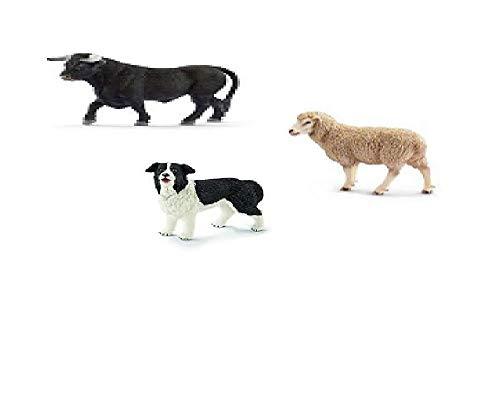 AUTRES SCHLEICH - Lot de 3 Figurines Animaux - Ferme - (Mouton L8,5 x H6,5 cm, Border Collie L6,5 x H5cm, Taureau Noir L 14,5X H9cm )