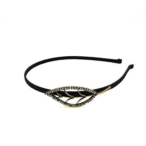 Rougecaramel haarband met bladmotief van metaal en strass, goudkleurige basis, hematiet