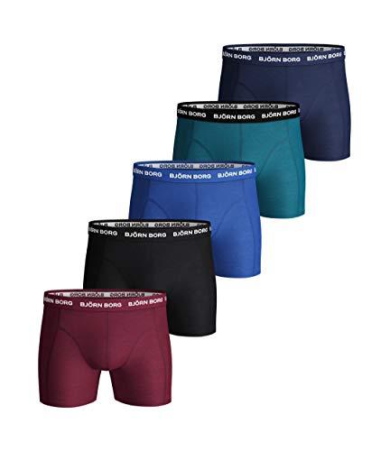 Bjorn Borg heren effen set boxershorts (comfortabel ondergoed van stretchkatoen, slip voor heren, 5 stuks, rode biet, Small)