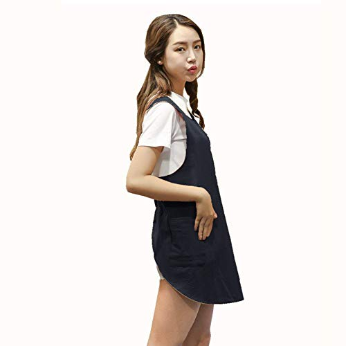 BBYBBS Delantal de lino y algodón suave, color sólido, diseño de cruz con diseño de delantales cortos, estilo japonés, doble bolsillo, falda redonda, para cocina, cocina, cocinero, verano, ajuste