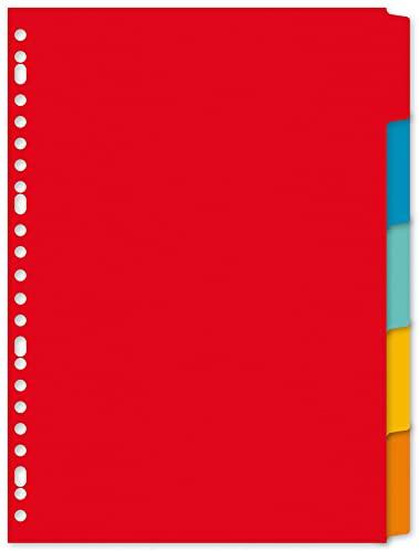 Kangaro Karton-Register DIN A4 blanko beschreibbar. 180 g/m² Manilla recycelter Karton. 5 teilig