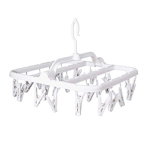 Foldable Clip Hangers with 26 Drying Clips, Underwear Hanger with Clips, Plastic Laundry Clip and Drip Drying Hanger for Socks, Bras, Lingerie, Clothes, Sturdy, White