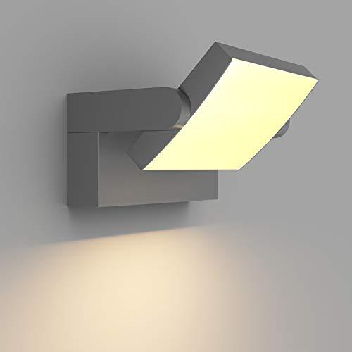 Klighten 24W Wandleuchte Aussen Innen, Wasserdicht IP65 Außenwandleuchte Modern Wandlampe mit Schwenkbar LED Panel Außenlampe für Terrasse Eingang, 1300 Lumen, Dunkelgrau, Warmweiß 2700K-3000K