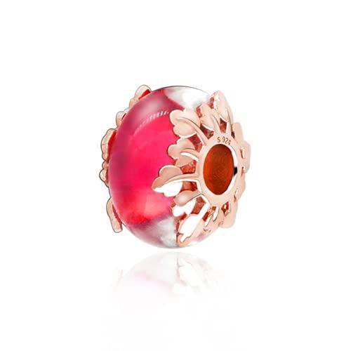 ZHANGCHEN Cuentas de Abalorios de Cristal de Murano Rosa otoñales Que se adaptan a Pulseras Pandora Originales joyería DIY para Mujeres