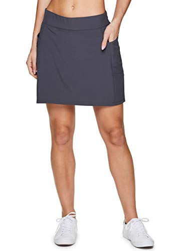 RBX Active Women's Fashion Stretch Woven Flat Front Athletic Golf/Tennis Skort with Attached Bike Shorts and Pockets S20 Charcoal L