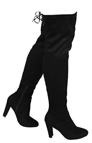 Wild Diva AMAYA-01 Women's Thigh High Stretch Boot - Trendy High Heel Shoe - Sexy Over The Knee Pullon Boot - Comfortable Easy Heel - Black (5.5)