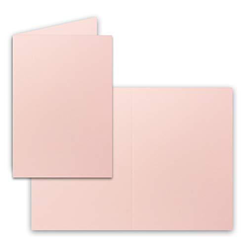 50x Falt-Karten DIN A6 in Rosa - Blanko - Doppel-Karten - 220 g/m²