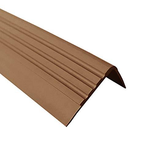 Anti-Rutsch Treppenkantenprofil für Treppenstufen Winkelprofil PVC Gummi RM, 1.5 Meter, 30x27mm (braun)