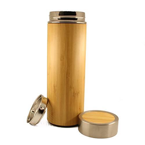 Termo de bambú con colador, té, café, Jugo, Botella de Viaje aislada al vacío. Recubrimiento de Acero Inoxidable y Madera, sin BPA,