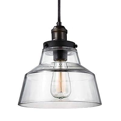 Feiss Baskin Glass Pendant Lighting, Brass